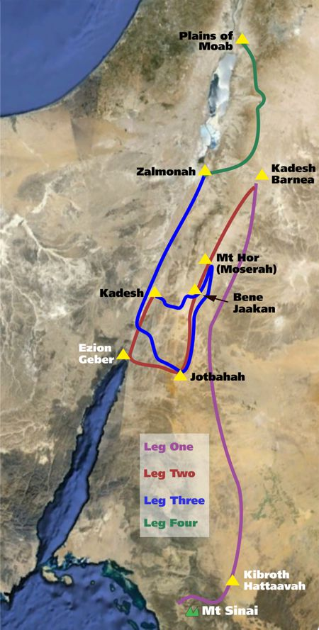 Route From Mount Sinai to Kadesh Barnea and the Promised Land going via Kadesh Barnea